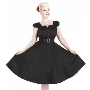 H&R London Black Swing Dress Retro 1950's Style